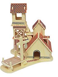 economico -Puzzle Puzzle 3D Modellini di legno Costruzioni Giocattoli fai da te Casa Legno