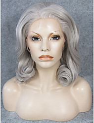 cheap -Synthetic Wig Curly Natural Hairline Gray Women's Lace Front Carnival Wig Halloween Wig Natural Wigs Medium Synthetic Hair