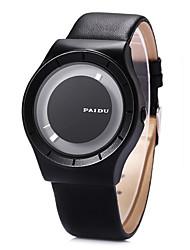 baratos -Homens Quartzo Único Criativo relógio Relógio de Pulso / Relógio Casual Couro Banda Fashion Legal Preta