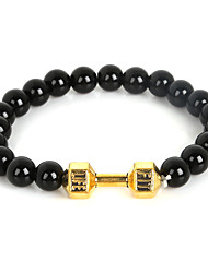 cheap -Beadia 1Pc Live Lift Dumbbell Bracelet 8mm Black Glass Beads Strand Bracelet