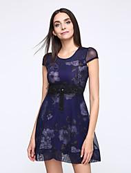 Kvinder Floral Print Kortærmet Chiffon Kjoler Plus Size Summer Dress