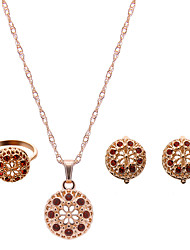preiswerte -Damen Schmuckset Luxus Modisch bezaubernd Hochzeit Party Strass Rose Gold überzogen Diamantimitate Aleación Haken Ohrringe Halsketten