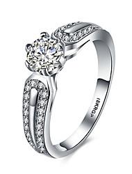 preiswerte -Damen Statement-Ring Bandring Weiß Synthetische Edelsteine Sterling Silber Zirkon Kubikzirkonia Diamantimitate Personalisiert Luxus