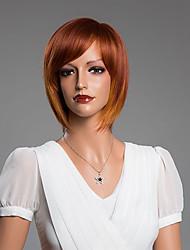 medie parrucche bob senza cappuccio rettilinei con frangia dei capelli umani colore misto da 14 pollici