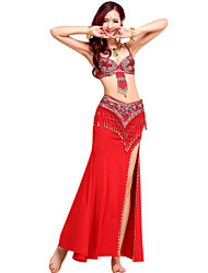cheap -Belly Dance Outfits Women's Performance Spandex Crystal Cotton Chinlon Paillette Tassel Sleeveless Skirt Bra Belt