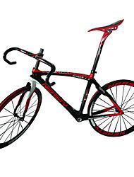 neasty kulfiber road cykel rammesæt ramme / hjulsæt / sadelpind / sadel / styr / headset med rød hvid farve