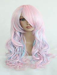 cheap -High Quality Blue Mix Pink 70cm Long Wavy Halloween Synthetic Cosplay Lolita Wig