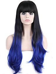 Ženy Modrá Vlnité S ofinou Umělé vlasy Bez krytky Přírodní paruka paruky