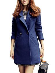 Damen Solide Einfach Lässig/Alltäglich Mantel,Winter Gekerbtes Revers Langarm Blau Dick Kaschmir / Nylon