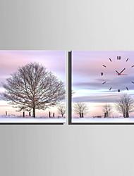 Недорогие -Квадратный Модерн Настенные часы , Прочее Холст40 x 40cm(16inchx16inch)x2pcs/ 50 x 50cm(20inchx20inch)x2pcs/ 60 x