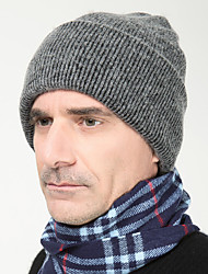 cheap -Men England Vintage Casual Tweed Wool Cotton Warm Pure Color Knit Caps