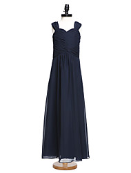 cheap -A-Line Straps Floor Length Chiffon Junior Bridesmaid Dress with Criss Cross Ruching by LAN TING BRIDE®