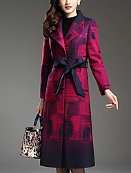 Women's Plus Size / Going out Street chic CoatPrint Notch Lapel Long Sleeve Fall / Winter Purple Wool / Polyester Thick