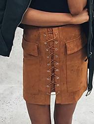 preiswerte -Damen Bodycon Röcke - Solide, Gespleisst