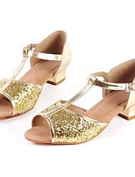 Damer Latin Jazz Moderne Salsa Glimtende Glitter Hæle Begynder Professionel Indendørs Optræden Træning Spænde Glimtende glitter Lave hæle