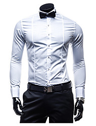 cheap -Brand Hight Quality Men's Daily Casual Summer / Fall ShirtSolid Stand Long Sleeve White / Black Cotton Medium
