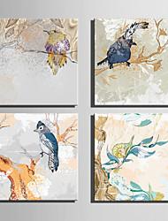 baratos -Estampados de Lonas Esticada Animais Botânico 4 Painéis Quadrada Estampado Decoração de Parede Decoração para casa