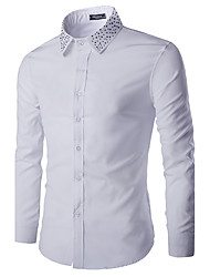 Men's Casual/Daily Simple Spring / Fall ShirtSolid Shirt Collar Long Sleeve White / Black Cotton Medium hot sale