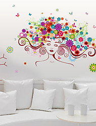 cheap -Personality Colored Women Flowers Hair Wall Stickers Creative Fashion Living Room Girls Room Wall Decals
