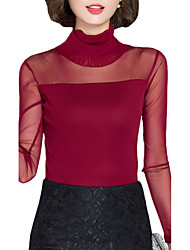 cheap -Fall Women Clothing Tops Turtleneck Long Sleeve Slim Was Thin Lace Net yarn Casual Temperament Womens Tops