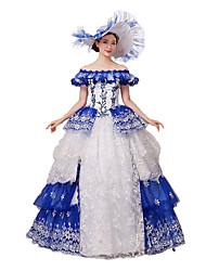 Victorian Rococo Costume Women's Party Costume Masquerade Blue Vintage Cosplay Lace Cotton Cap Floor Length