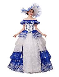 Victorien Rococo Costume Femme Costume de Soirée Bal Masqué Bleu Vintage Cosplay Dentelle Coton Mancheron Longueur Sol