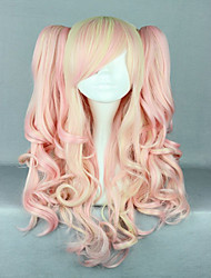 cheap -Synthetic Wig Wavy With Ponytail With Bangs Highlighted/Balayage Hair Pink Women's Capless Carnival Wig Halloween Wig Lolita Wig Cosplay