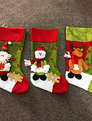 Large Fashion Christmas Fabric Sock Gifts Bags Tree Decoration Deer  Santa Snowman Pattern Christmas Stockings Gift Bag Holders(Style random)
