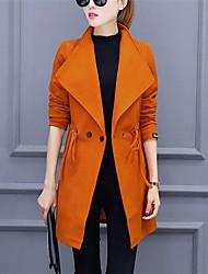 Impermeabile Da donna Casual Autunno Inverno Moda città,Tinta unita Bavero classico Poliestere Rosso Nero Arancione Manica lungaMedio