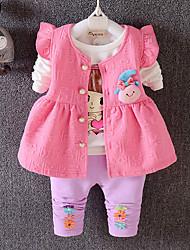 Недорогие -Девочки Жилет На каждый день Хлопок Однотонный Весна Осень Длинные рукава Мультяшная тематика Лиловый Розовый