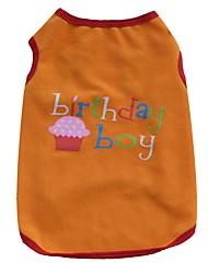 abordables -Chat Chien Tee-shirt Gilet Vêtements pour Chien Lettre et chiffre Orange Violet Coton Costume Pour les animaux domestiques Homme Femme