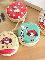 Headset/Coin Purse Lovely Girl Mini Round Iron Box (Random Colours)
