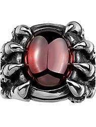 billige -Herre Kvadratisk Zirconium Ring - Zirkonium, Kvadratisk Zirconium Dødningehoved Personaliseret, Punk, Mode 8 / 9 / 10 Rød Til Julegaver / Bryllup / Fest