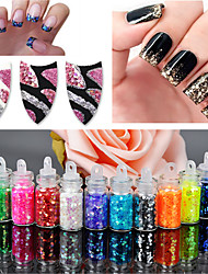 cheap -12Pcs/set Mini Bottle Glitter Sequin Nail Art Powder Dust Tip Rhinestone Manicure Tools