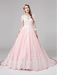 economico -Da ballo Con decorazione gioiello Strascico di corte Di pizzo Raso Vestito da sposa con Con applique Bottoni di LAN TING BRIDE®