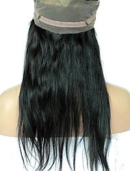 Недорогие -360 Лобовой Прямые Человеческие волосы закрытие Умеренно-коричневый Французское кружево 75g-95g грамм Средние Размер крышки