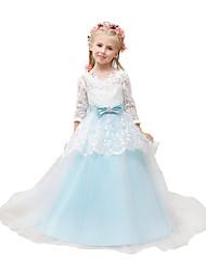 abordables -Vestido de bola vestido de la muchacha de flor vestido - tul 3/4 longitud mangas v-cuello con applique