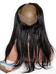 Недорогие -Малазийские волосы 360 Лобовой Прямой / 360 фронтальных Бесплатный Часть Французское кружево Натуральные волосы