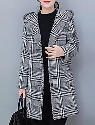 economico -Cappotto Da donna Per uscire Autunno / Inverno Moda città,Pied-de-poule Con cappuccio Poliestere Grigio Manica lunga Medio spessore