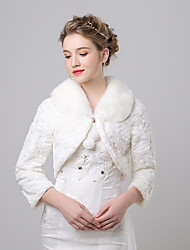 cheap -Faux Fur Imitation Cashmere Wedding Party Evening Women's Wrap With Pattern Shrugs