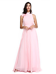 A-Line High Neck Sweep / Brush Train Chiffon Homecoming Formal Evening Holiday Dress with Bow(s) Sash / Ribbon Pleats by TS Couture®