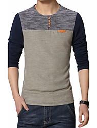billige -Rund hals Herre - Patchwork Bomuld Plusstørrelser T-shirt / Langærmet