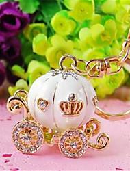 Korea Creative Cute Key Pendant Rhinestone Crystal Pumpkin Car Key Chain