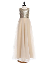 A-Line Floor Length Flower Girl Dress - Organza Sequined Sleeveless Jewel Neck with Flower by LAN TING BRIDE®