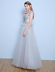 A-Line Scoop Neck Floor Length Satin Tulle Formal Evening Dress with Beading Appliques Pearl Detailing Sequins by Yaying