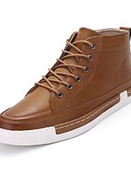 Homens sapatos Couro Ecológico Primavera Outono Conforto Tênis para Casual Preto Marron Azul Khaki