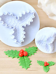 cheap -2pcs Holly Leaf Leaves Plastic Cake Cutter Plunger Fondant Sugarcraft Mold Mould Kitchen Baking Decorating Tools