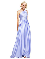A-Line One Shoulder Floor Length Satin Chiffon Bridesmaid Dress with Side Draping by LAN TING BRIDE®