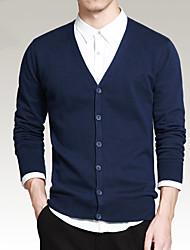 abordables -Normal Cardigan Hommes Décontracté / Quotidien simple,Couleur Pleine Bleu / Noir / Gris Col en V Manches Longues Coton Printemps / Automne
