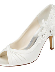 cheap -Women's Shoes Stretch Satin Spring Fall Heels Stiletto Heel Peep Toe Crystal for Wedding Party & Evening Dress Ivory